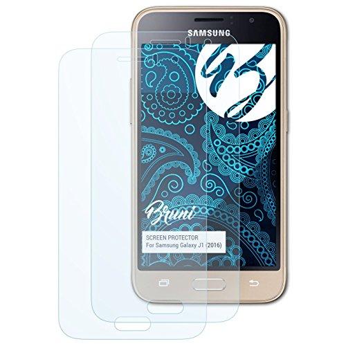 Bruni Schutzfolie kompatibel mit Samsung Galaxy J1 (2016) Folie, glasklare Bildschirmschutzfolie (2X)