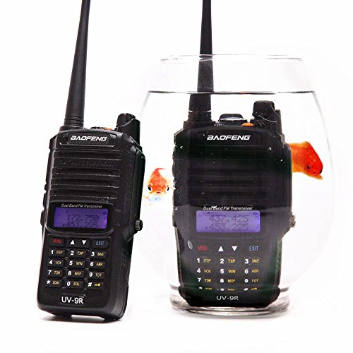 Baofeng UV-9R 136-174/400-520MHZ VHF/UHF Dual Band Dustproof Waterproof IP67 Transceiver Walkie Talkie Two Way Radio with A Telescopic Antenna