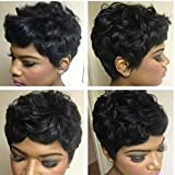 VCK Black Short Curly Human Hair Wigs Pixie Cut Wigs for Black Women Short Wigs Human Hair Natural Fashion Wigs