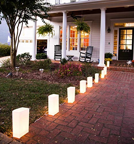 Elf Logic - Set of 10 Electric Luminary Bags (Incandescent Lights) - Plug in and Weatherproof Vellum Christmas Pathway Lighting - Reusable Luminary Bags - Perfect Outdoor Holiday Lights