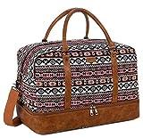 BAOSHA Damen Handgepäck Reisetasche Frauen Canvas Leder Travel Duffel Weekender Tasche für Reise am Wochenend Urlaub mit Schuhfach HB-38 (Drucken)
