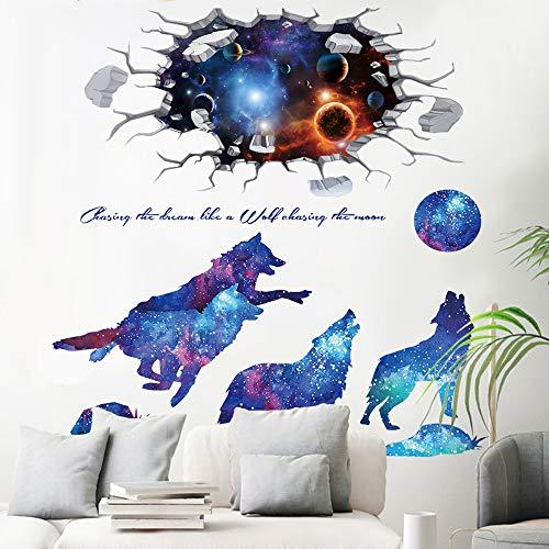Pegatinas de Lobo y Galaxia, TANOSAN Etiqueta De La Pared Universo Galaxy DIY Vía Láctea Lobos De La Luna Calcomanías Murales para Habitaciones De Niños Dormitorio De Salón (Azul)