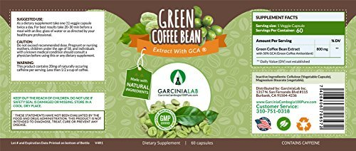 Green Coffee Bean Extract 100% Pure 1600MG Daily Serving Weight Loss Supplement 50% Chlorogenic Acid Max Strength Natural GCA Antioxidant Cleanse for Weight Loss, 800mg Made in USA