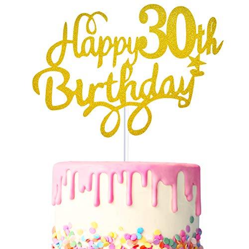 3 Stücke 30. Geburtstagstorte Topper Happy 30th Birthday Kuchen Cupcake Topper Picks Glitzer Kuchen Dekoration für 30. Geburtstag Party Zubehör (Gold)