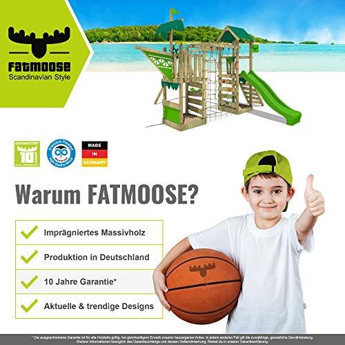 FATMOOSE Spielturm Ritterburg BoldBaron mit Schaukel, SurfSwing & apfelgrüner Rutsche, Spielhaus mit Sandkasten, Leiter & Spiel-Zubehör - 7