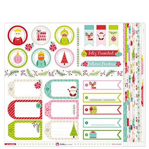 Anita y Su Mundo Colección En Navidad Papeles de Scrapbooking, Paper, Multicolor, 30.5 x 30.5 cm