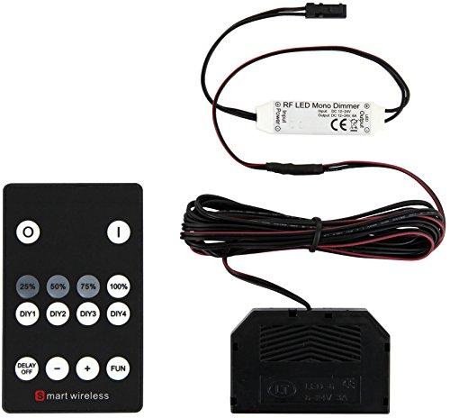 Intelligent Smart sans fil – RF LED Dimmer – Radio Commande Set avec 6 Répartiteur – Mono pour lampes LED bande lumineuse – 72 W 12 V/24 V
