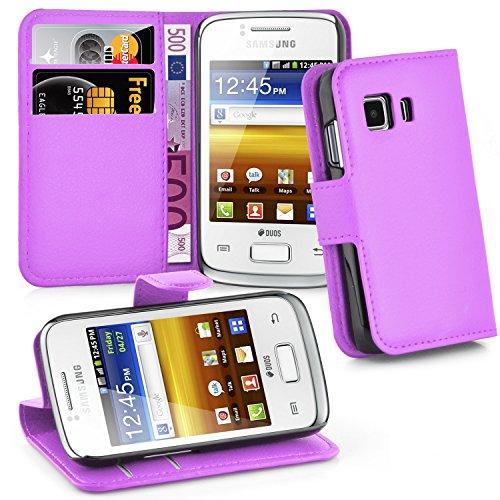 Cadorabo Hülle für Samsung Galaxy Young 2 - Hülle in Mangan VIOLETT – Handyhülle mit Kartenfach und Standfunktion - Case Cover Schutzhülle Etui Tasche Book Klapp Style