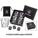 WOMA 8 Whisky Steine + 4 Whiskey Gläser + Samtbeutel in Edler Geschenkbox - Whiskeysteine aus 100%...