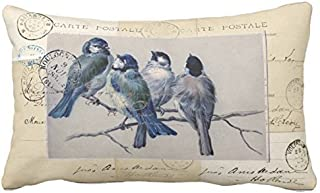 UTF4C Bluebirds French Postcards Throw Pillow Case Square 12 x 16 Inches Soft Cotton Canvas, Pillow Cover Decorative for Sofa Couch Hidden Zipper