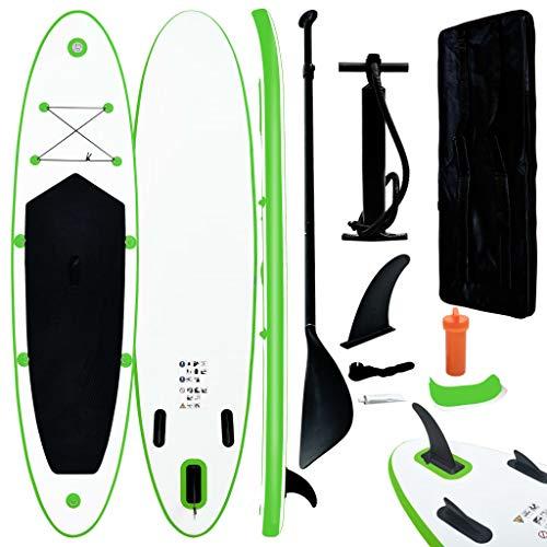 vidaXL Juego de Tabla de Paddle Surf Hinchable Inflable Portátil Viaje Deporte Piscina Lago Bomba Manual Estable Duradero Verde y Blanco
