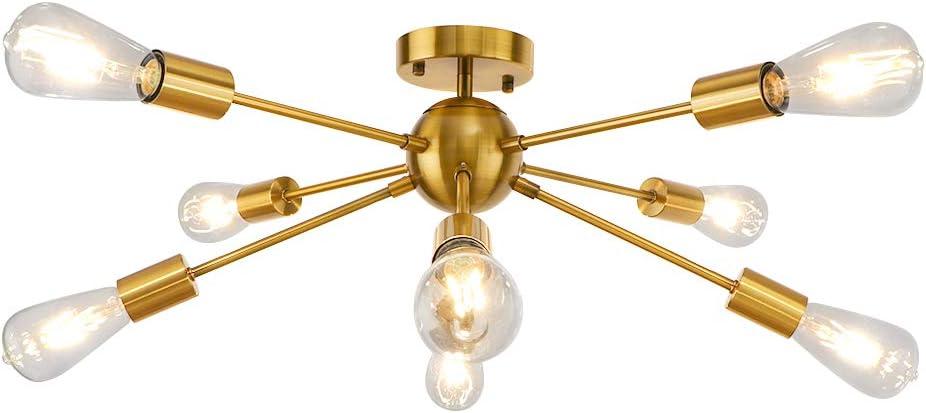 Gold Sputnik Chandelier, LynPon 8 Light Mid Century Light Fixture Bedroom Electroplated Brass Industrial Vintage Ceiling Light for Kitchen Dining Room Hallway Lighting