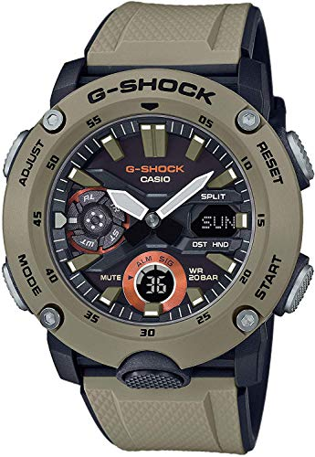 CASIO Herren Analog – Digital Quarz Uhr mit Resin Armband GA-2000-5AER