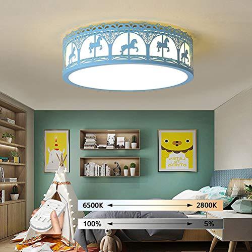 HIL plafondlamp voor kinderen, moderne plafondlamp minimalistisch blauw in de vorm van jongens, plafondlamp voor creatieve slaapkamers voor dieren 42CM/24W