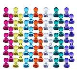 Magenesis 60 Stücke Farbige Bunte Transparente Whiteboard Magnete, Tafelmagnete für Whiteboard, Kühlschränke