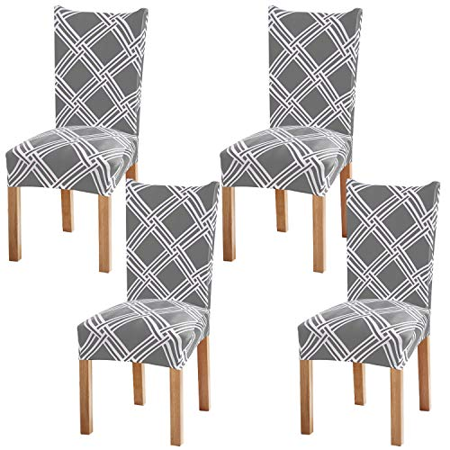 Fuloon 4 Pack Super Fit Stretch Removable Washable Short Dining Chair Protector Cover Seat Slipcover for Hotel,Dining Room,Ceremony,Banquet Wedding Party (Gray/White)