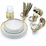 Bobfaw Creations Gold Plastic Plates Dinnerware Set – 150 Piece Disposable Silverware with 25 each (Dinner & Salad Plates, Spoons, Forks, Knives, Cups)