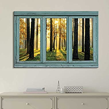 wall26 Vintage Teal Window Looking Out Into the Forest and the Sun Peeking Through the Trees - Canvas Art Home Decor - 24x36 inches
