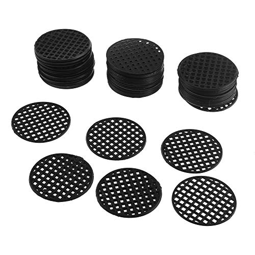 Bluecell 50pcs Black Color Plastic Flower Pot Hole Mesh Pad Bonsai Bottom Grid Mat (4.5cm)