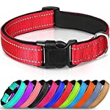 Joytale Reflective Dog Collar,Padded Breathable Soft Neoprene Nylon Pet Collar Adjustable for Small Dogs,S,Red