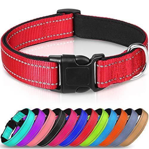 Joytale Hundehalsband aus Nylon, Reflektierend Halsband Hund mit Weich Neopren Gepolstert für Große Hunde,Rot