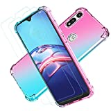 Moto E Phone Case,Motorola e Case with Screen Protector for Girls and Women, HNHYGETE Transparent Shockproof Slim Two-Color Soft TPU Protection Cover Cases for Motorola Moto E (2020) (Pink/Green)