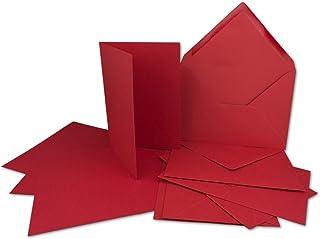 50 Kartenset mit Umschlägen Kirschrot - DIN A6 Faltkarten 1
