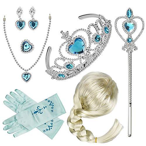 LYTIVAGEN Disfraz de princesa para niños, joyas de princesa, corona de reina azul, diadema, anillo, pendientes, varita mágica, guantes para Halloween, cumpleaños, carnaval, cosplay y festivales
