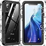 SPIDERCASE Designed for iPhone Xs Max Waterproof Case, Built-in Screen Protector Full-Body Clear Call Quality Heavy Duty Shockproof Cover Case for iPhone Xs Max 6.5'' (Black/Clear)