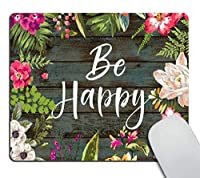 花のマウスパッドの動機付けの引用は幸せなネオプレンの心に強く訴える引用マウスパッドオフィススペースの装飾ホームオフィスコンピューターアクセサリーマウスパッド水彩ヴィンテージフラワーデザイン