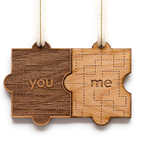 You & Me Pair Puzzle Piece Laser Cut Wood Ornaments - Comes with 2 [Christmas, Holiday, Love, Anniversary, Personalized Gifts, Custom Message, Stocking Stuffers]