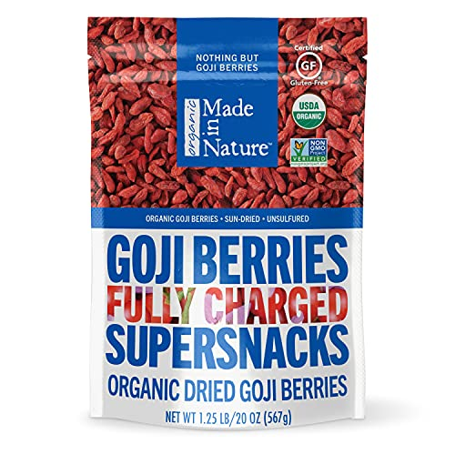 Made in Nature | Organic Sun Dried Goji Berries | Non-GMO, Unsulfured Vegan Snack | 20oz Bag (Pack of 1)