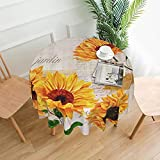 Vintage Sunflowers on Postcards Newspaper Round Tablecloth Circular Table Cover Decorative for Dining Room Wedding Holiday 60 Inch