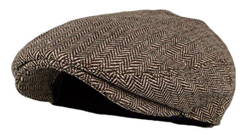 Wonderful Fashion Klassischer Herringbone Tweed Newsboy Efeu Hut (Large/X-Large, Anthrazit) - Braun - L/XL