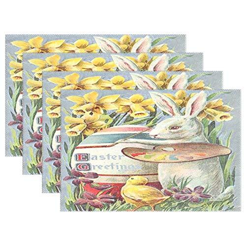 Conejito de Pascua Pintor Huevo Mantel individual Alfombrilla de mesa Decoración de escritorio Manteles individuales Juego de 6 antideslizantes Resistentes al calor 12x18 pulgadas