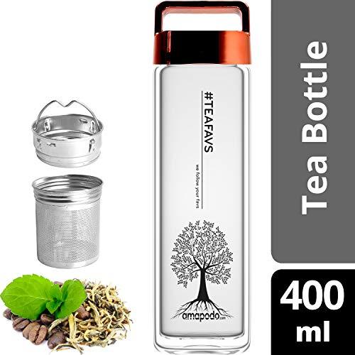 amapodo Teeflasche mit Sieb - Tee Flasche Glas to go - Tea Bottle 400ml (Rot)