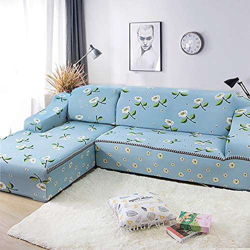 KIRA Stretch Couch Slipcover Thick Sofa Covers 1/2/3/4 Seater Durable and Wear Resistant L Shaped Sofa Cover Chaise Longue Skin-Friendly Active Printing and Dyeing - Machine Washable