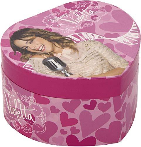 CursOnline® - Joyero Musical con carillón de Violeta en Forma de corazón con Espejo Interior. Gran Idea de Regalo para niñas y niños.