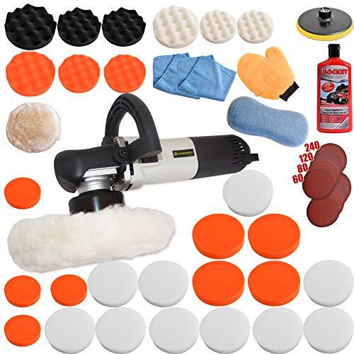 Kingbarney XXXXL Profiset - Excentrische polijstmachine/polijstmachine incl. koffer 710 watt set 5 + polijstspons accessoireset - schuurmachine - 49 delen - auto polijsten