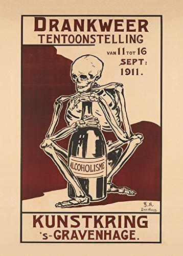 Vintage bieren, wijnen en sterke drank 'Alcoholisme. Tentoonstelling over alcoholmisbruik in Den Haag', 1911, 250gsm Zacht-Satijn Laagglans Reproductie A3 Poster