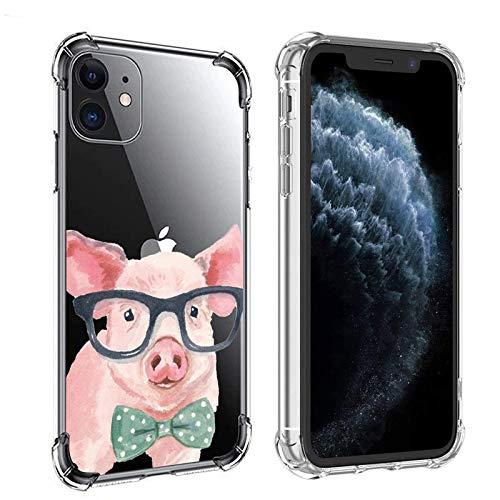 Carcasa transparente para iPhone 11 Series 2021, diseño de cerdo, color rosa