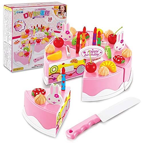 ZoneYan Pastel de Juguete, Pastel de Cumpleaños de Juguete, Tarta Cumpleaños Juguete, Alimentos Juguete Cortar, Tarta Cumpleaños Juguete Grande, Juguetes Accesorios Juego Educativo (Rosa)