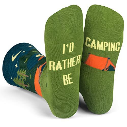 Lavley - I'd Rather Be - Men's Novelty Socks - Fun Dress Socks For Work (Camping)