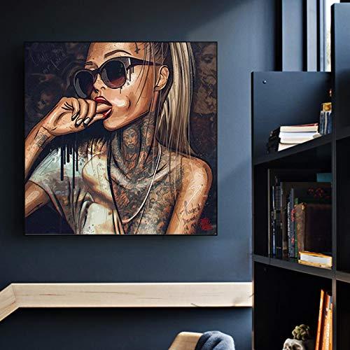 Abstracto Fresco Chica Sexy Tatuaje Lienzo Pintura Llevar Gafas Mujeres Retrato Carteles Impresiones Pared Arte imágenes Sala de Estar 80x80 cm sin Marco