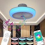 LED RGB Deckenleuchte mit Ventilator und Lautsprecher Alexa Bluetooth Musik APP Home Farbwechsler Flach Deckenventilator Beleuchtung Fernbedienung Leise Dimmbar Deckenlampe mit Licht Lampe Fan