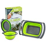 Collapsible Colander Set 3PC by Kool Kitchen Pros – BPA Free Silicone Folding Strainers and Colanders – Plastic Mesh Rice and Pasta Strainer, Vege Collanders, Food Drainer, Dish and Sink Sieve (Green)