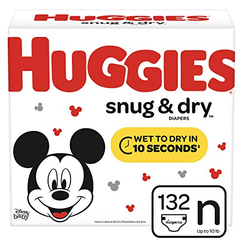 Huggies Snug & Dry Diapers, Size Newborn (up to 10 lb.), 132 Ct, Giga Jr Pack...