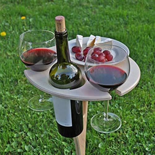 Psycker Outdoor Klappbar Weinregal, Holz Campingtisch TragBAR Klapptisch Outdoor Tisch für 2 Glas 1 Weinflasche und 1 Handy-Steckplatz, Optimal für Wanderer, Camping, Outdoor Aktivitäten (A)