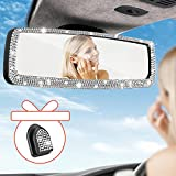 Bling Rhinestone Car Rear View Mirror, with 1PCS Glitter Mask Hook Car Rear View Mirror with Stretchable-clip Design Fit Most Vehicle Cars SUV Vans Trucks Universal Interior Rear View Mirror for car