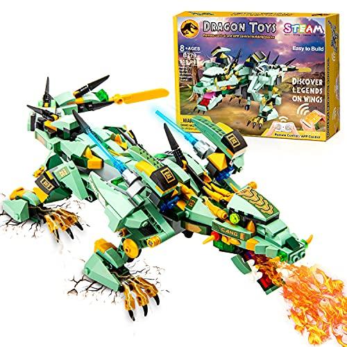 CIRO Drache Bausteine Ferngesteuerter und Programmierbarer Drachen STEM Technik Spielzeug Geburtstagsgeschenk für Kinder ab 8 Jahren (515 Stück)